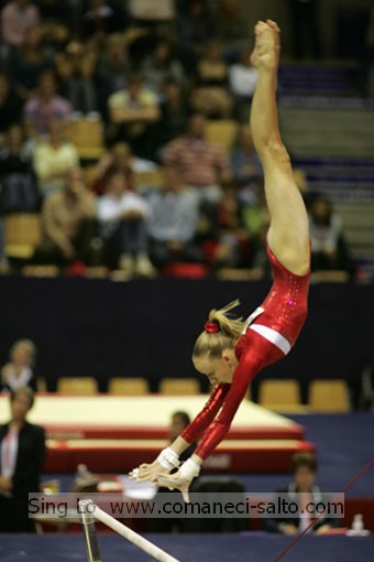 Nastia Liukin USA Uneven Bars Pak Salto Release Move Transition From High Bar To Low